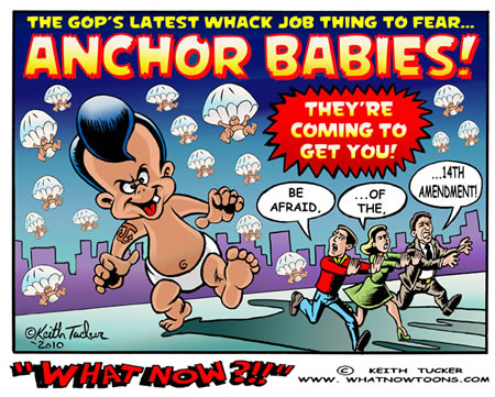 """anchor babies """"[t]he us-born children of illegal aliens are often referred to as 'anchor babies,'  as they are able to eventually bring an unlimited number of."""
